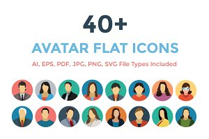 40+ Avatars Flat Icons