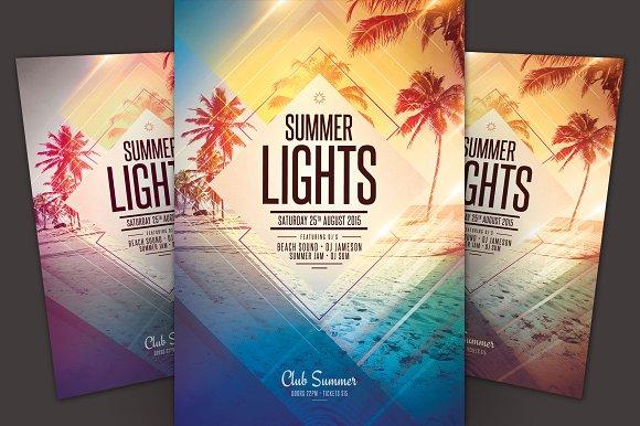 summer lights flyer flyer templates creative market