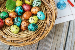 Easter background with Easter eggs i