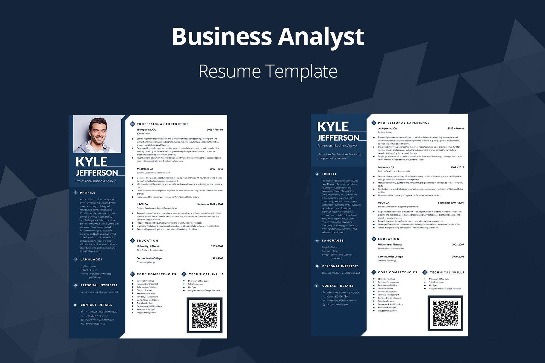 Editable Resume Business Analyst Resume Templates Creative Market