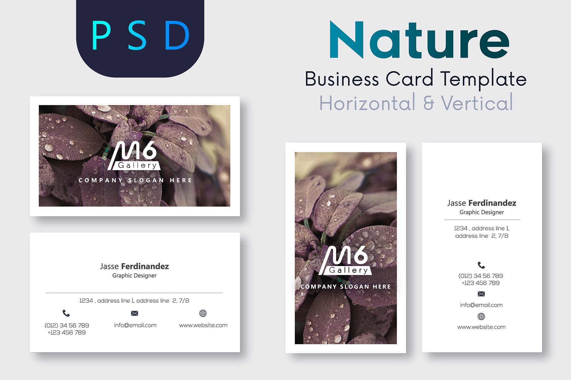 Nature business card template s51 business card templates nature business card template s51 business card templates creative market reheart Images