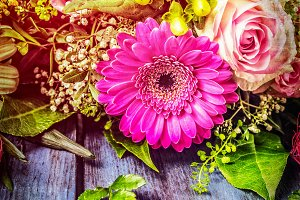 Flowers bunch with gerbera and roses