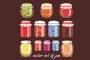 Jars of different shapes and jam.