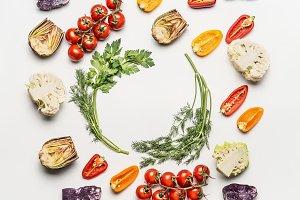 Frame of salad vegetables ingredient