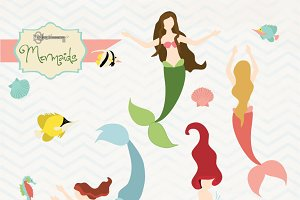 Mermaids Clipart Set