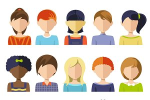 Flat Children Heads Icon Set