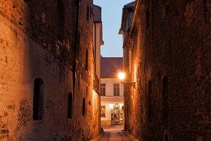 Street in Torun Old Town at Night