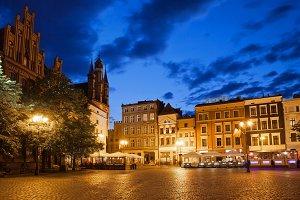 Torun Old Town Square At Night