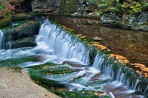 Autumn Stream in Mountain Forest