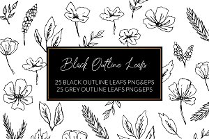 Black Outline Leafs and Flowers