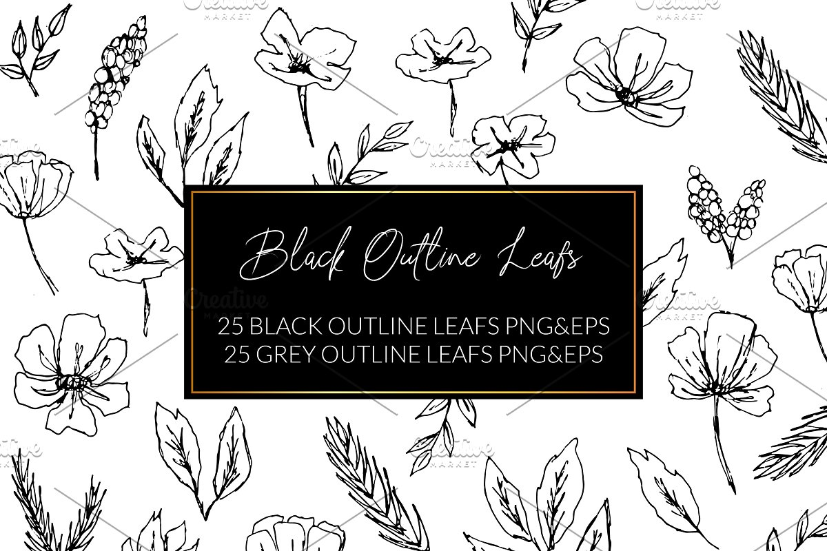 Black Outline Leafs and Flowers in Illustrations - product preview 8