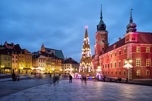 Old Town of Warsaw City by Night