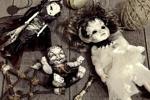 Three scary dolls