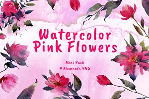 Watercolor Pink Flowers Mini Pack