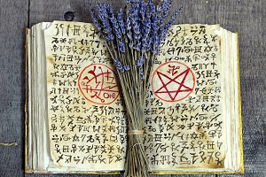 Magic book with lavender bunch