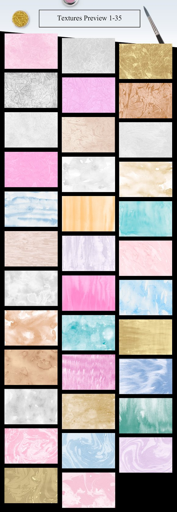 70 Watercolor, Gold, Marble Textures in Textures - product preview 1