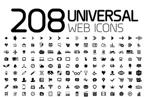 208 universal web icons set