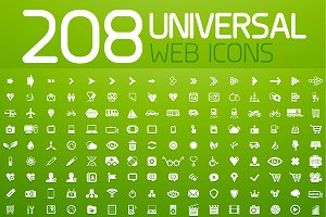 Set of 208 universal vector icons