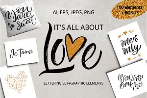 It's All About Love - lettering set