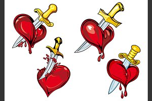 Cartoon heart with dagger