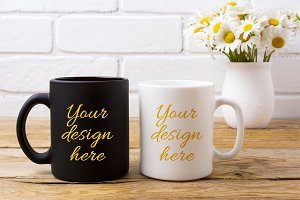 White and black coffee mug mockup