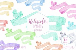 Pastel Watercolor Ribbon Banners