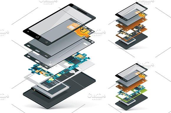 Isometric smartphone cutaway