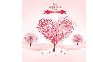 Pink heart-shaped sakura trees.