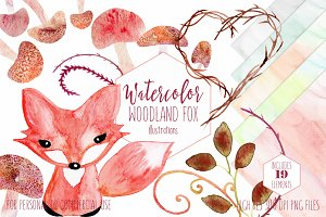 Cute Watercolor Woodland Fox Set