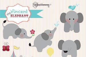 Vincent the Elephant Clipart