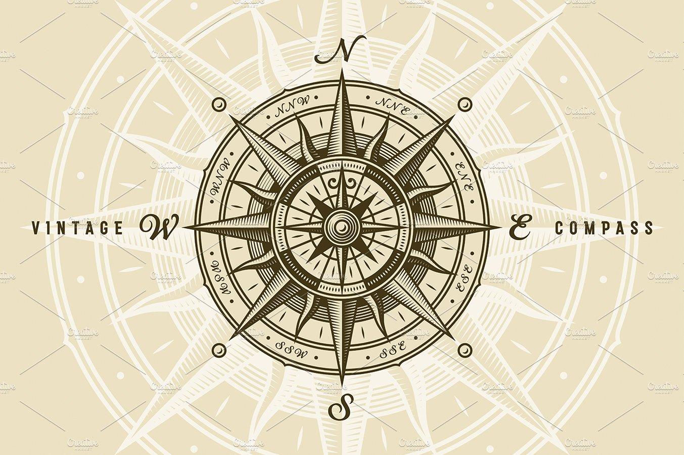 Vintage Nautical Compass Rose Illustrations Creative