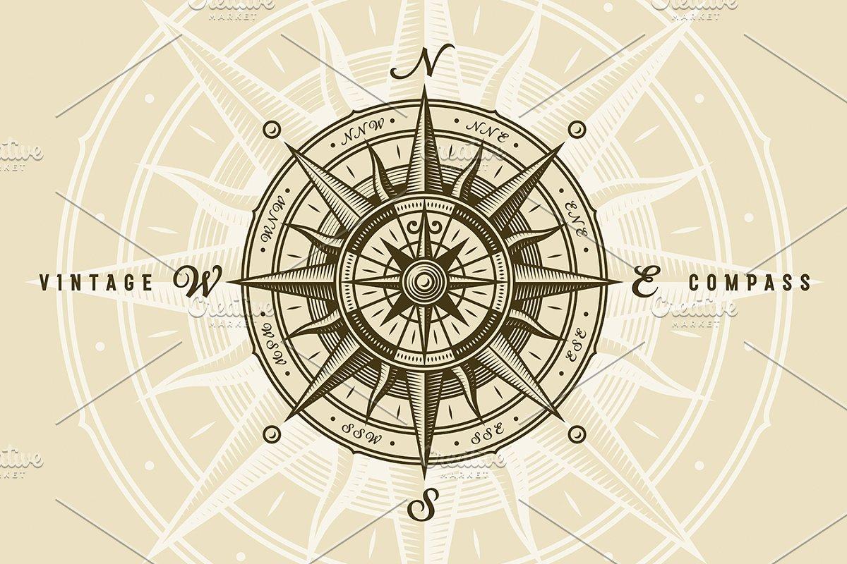 Vintage Nautical Compass Rose Illustrations Creative Market