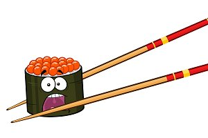 Sushi Roll Cartoon Mascot Character