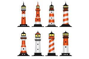 Lighthouse Set Flat Style