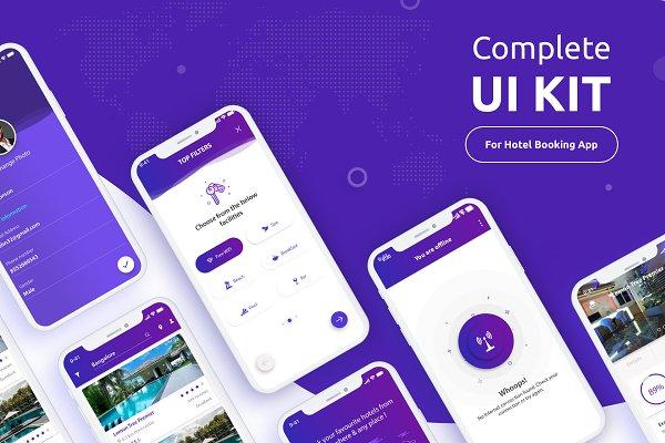 Complete Ui Kit Hotel Booking App Psd Template 3d Logo Mockup