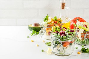 Fresh salads in jars