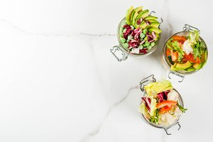 Fresh salads in jars