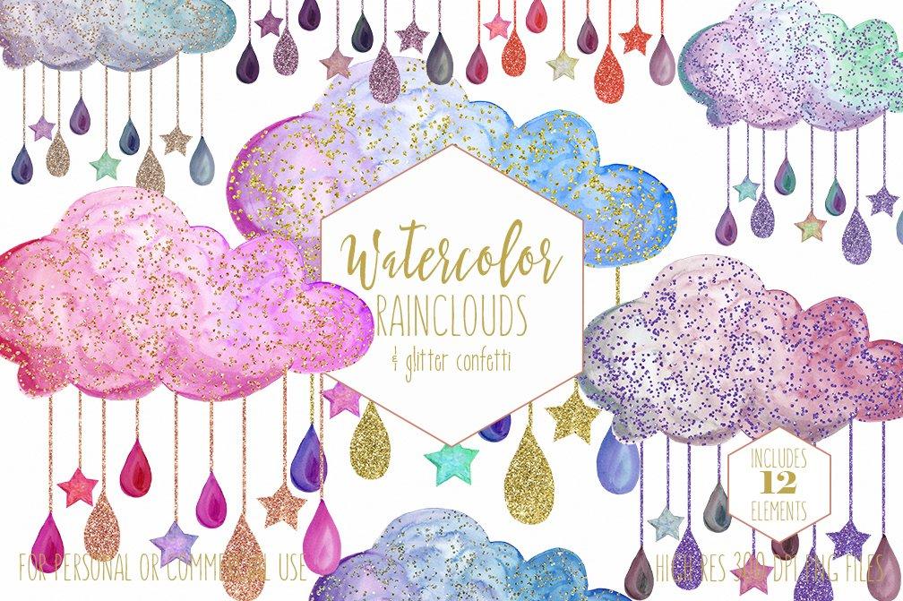 Cute Watercolor Rain Clouds & Drops ~ Illustrations ...