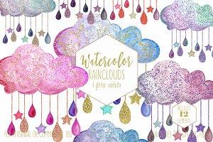 Cute Watercolor Rain Clouds & Drops