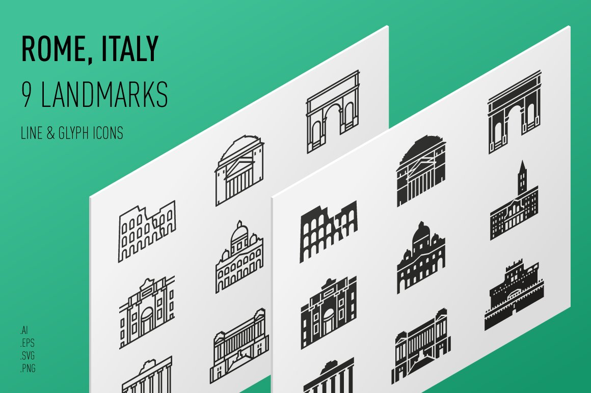 Landmarks Of Italy Rome Icons Creative Market