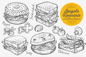 Bagels & Paninis hand-drawn graphic