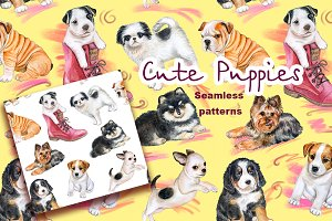 Funny puppies. Seamless Pattern