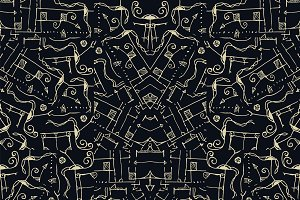 Intricate Abstract Symbols Shapes Seamless Pattern