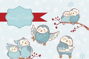 Snowy Owls Clipart