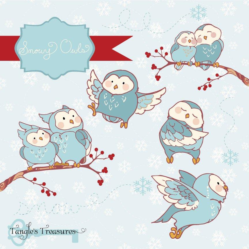 Snowy Owls Clipart ~ Illustrations ~ Creative Market