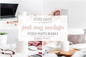Pink Mug Mockups Photo Bundle