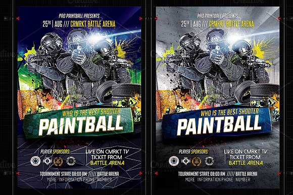 Paintball Flyer Template-Graphicriver中文最全的素材分享平台
