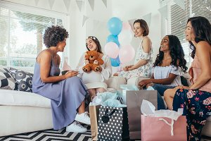 Woman celebrating baby shower