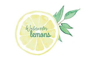 high res. Watercolor Lemons