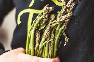 woman with asparagus